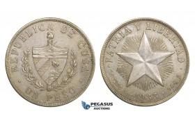 AA111, Cuba, Peso 1933, Philadelphia, Silver, AU
