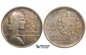 """AA112, Cuba, """"ABC"""" Peso 1938, Philadelphia, Silver, Toned AU (Bumps)"""
