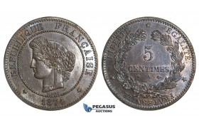AA114, France, Third Republic, 5 Centimes 1874-A, Paris, Lightly cleaned aUNC