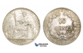 AA116, French Indo-China, 10 Centimes 1900-A, Paris, Silver, a few marks, AU