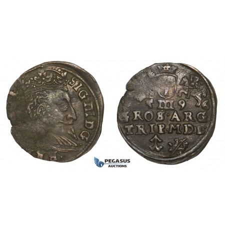 AA121, Lithuania, Sigismund III of Poland, 3 Groschen (Trojak) 1596, Vilnius, Silver (2.23g) Cabinet toning, VF