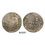 AA122, Lithuania, Sigismund III of Poland, 3 Groschen (Trojak) 1602, Vilnius, Silver (2.28g) Nice toning, VF, Rare!