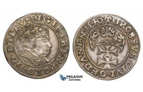AA123, Poland, Danzig, Sigismund I, Groschen 1540, Danzig, Silver (1.98g) Old toning, XF+