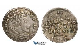 AA125, Poland, Sigismund III, 3 Groschen (Trojak) 1589 I-D, Olkusz, Silver (2.44g) Rainbow toning, VF+
