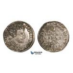 AA126, Poland, Sigismund III, 3 Groschen (Trojak) 1589 I-D, Poznan (Posen), Silver (2.07g) Lustrous & toned AU