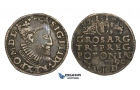 AA127, Poland, Sigismund III, 3 Groschen (Trojak) 1590 I-D, Poznan (Posen), Silver (2.07g) Toned VF