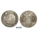 AA128, Poland, Sigismund III, 3 Groschen (Trojak) 1590 I-F, Olkusz, Silver (2.25g) aVF