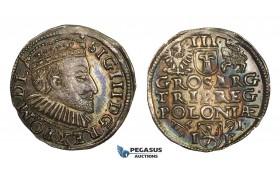 AA129, Poland, Sigismund III, 3 Groschen (Trojak) 1590 I-F, Poznan (Posen), Silver (2.24g) Rainbow toned AU