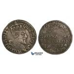 AA131, Poland, Sigismund III, 3 Groschen (Trojak) 1594 I-F, Olkusz, Silver (2.25g) Dark toning, VF