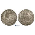 AA133, Poland, Sigismund III, 3 Groschen (Trojak) 1595 I/FS/C, Bydgoszcz (Bromberg), Silver (2.43g) Cabinet toning, AU