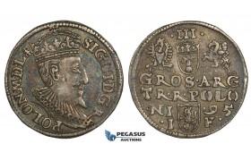 AA134, Poland, Sigismund III, 3 Groschen (Trojak) 1595 I-F, Olkusz, Silver (2.27g) Dark toning, VF+