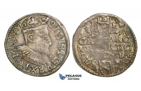 AA138, Poland, Sigismund III, 3 Groschen (Trojak) 1595 I-F, Poznan (Posen), Silver (2.16g) Ranbow toning, VF, Rare!
