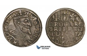 AA139, Poland, Sigismund III, 3 Groschen (Trojak) 1596 I-F/H-R, Poznan (Posen), Silver (2.52g) Dark toning, VF-XF