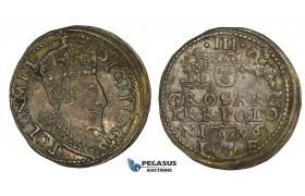 AA140, Poland, Sigismund III, 3 Groschen (Trojak) 1596 I-F, Olkusz, Silver (2.39g) Rainbow toning, XF-AU