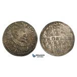 AA141, Poland, Sigismund III, 3 Groschen (Trojak) 1597 I-F, Olkusz, Silver (2.34g) Rainbow toning, AU-UNC