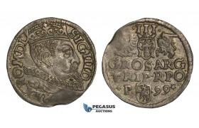 AA143, Poland, Sigismund III, 3 Groschen (Trojak) 1599-P, Poznan (Posen), Silver (2.40g) Dark toning, XF
