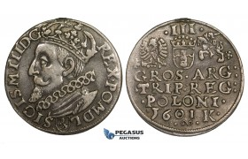 AA147, Poland, Sigismund III, 3 Groschen (Trojak) 1601 K, Cracow, Silver (2.39g) Removed mount, VF