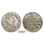 AA148, Poland, Sigismund III, 3 Groschen (Trojak) 1619, Cracow, Silver (2.03g) Lustrous, XF-UNC