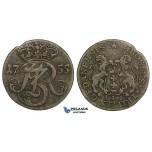 AA151, Poland, Danzig, August III, 3 Groschen (Trojak) 1755, Danzig, Billon (1.40g) Toning, VF