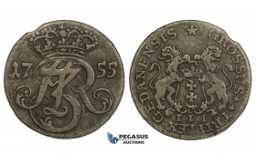 AA151, Poland, Danzig, August III, 3 Groschen (Trojak) 1755, Danzig, Billon (1.40g) Toning, VF