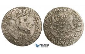 AA154, Poland, Sigismund III, Ort (1/4 Taler) 1626/5, Danzig, Silver (7.21g) VF