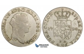 AA158, Poland, Stanislau August, 4 Groschen - 1 Zloty 1790 EB, Warsaw, Silver (5.39g) VF