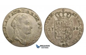 AA159, Poland, Stanislau August, 4 Groschen - 1 Zloty 1792 MV, Warsaw, Silver (5.36g) Adjustments, XF