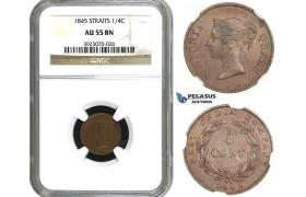 AA162, Straits Settlements, Victoria, 1/4 Cent 1845, NGC AU55BN