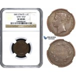 AA163, Straits Settlements, Victoria, 1/2 Cent 1845 WW, NGC XF40BN