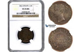 AA164, Straits Settlements, Victoria, 1/2 Cent 1862, NGC VF25BN