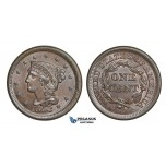AA166, United States, Braided Hair Cent 1853, Philadelphia, Lustrous Brown UNC