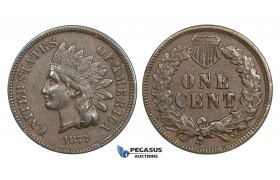 AA167, United States, Indian Cent 1873 open 3, Philadelphia, XF-AU
