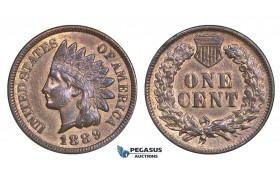AA168, United States, Indian Cent 1889, Philadelphia, Cleaned AU
