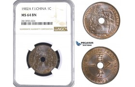 AA394, French Indo-China, 1 Centime 1902-A, Paris, NGC MS64BN