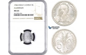 AA396, French Indo-China, ESSAI 5 Centimes 1946, Paris, NGC MS65