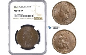 AA400, Great Britain, George IV, Penny 1826, London, NGC MS63BN
