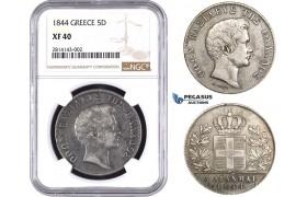 AA401, Greece, Othon, 5 Drachmai 1844, Athens, Silver, NGC XF40, Rare!