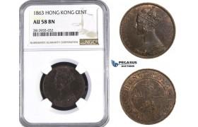AA402, Hong Kong, Victoria, Cent 1863, NGC AU58BN