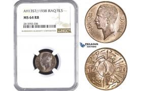 AA408, Iraq, Ghazi I, 1 Fils AH1357/1938, NGC MS64RB