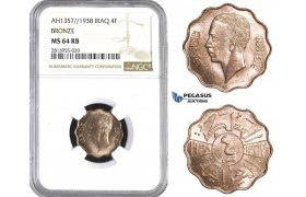 AA409, Iraq, Ghazi I, 4 Fils AH1357/1938, NGC MS64RB