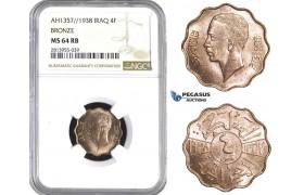 AA409, Iraq, Ghazi I, 4 Fils AH1357/1938, NGC MS64RB