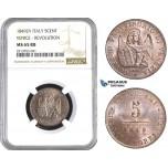 AA411, Italy, Venice, Revolutionary, 5 Centesimi 1849 ZV, NGC MS65RB, Pop 1/0