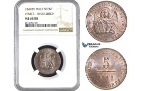AA411, Italy, Venice, Revolutionary, 5 Centesimi 1849 ZV, NGC MS65RB, Pop 1/0