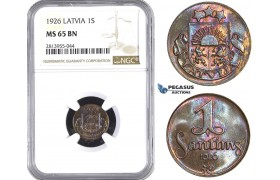 AA414, Latvia, 1 Santims 1926, NGC MS65BN, Pop 7/0
