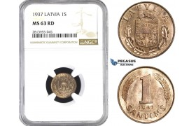 AA415, Latvia, 1 Santims 1937, NGC MS63RD