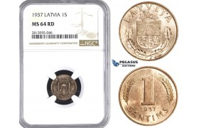 AA416, Latvia, 1 Santims 1937, NGC MS64RD, Pop 1/0 as RD