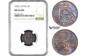 AA417, Latvia, 2 Santimi 1926, NGC MS65BN, Pop 3/0
