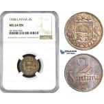AA420, Latvia, 2 Santimi 1928, NGC MS64BN, Pop 1/0