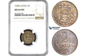 AA420, Latvia, 2 Santimi 1928, NGC MS64BN, Pop 1/0