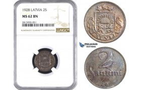 AA421, Latvia, 2 Santimi 1928, NGC MS62BN